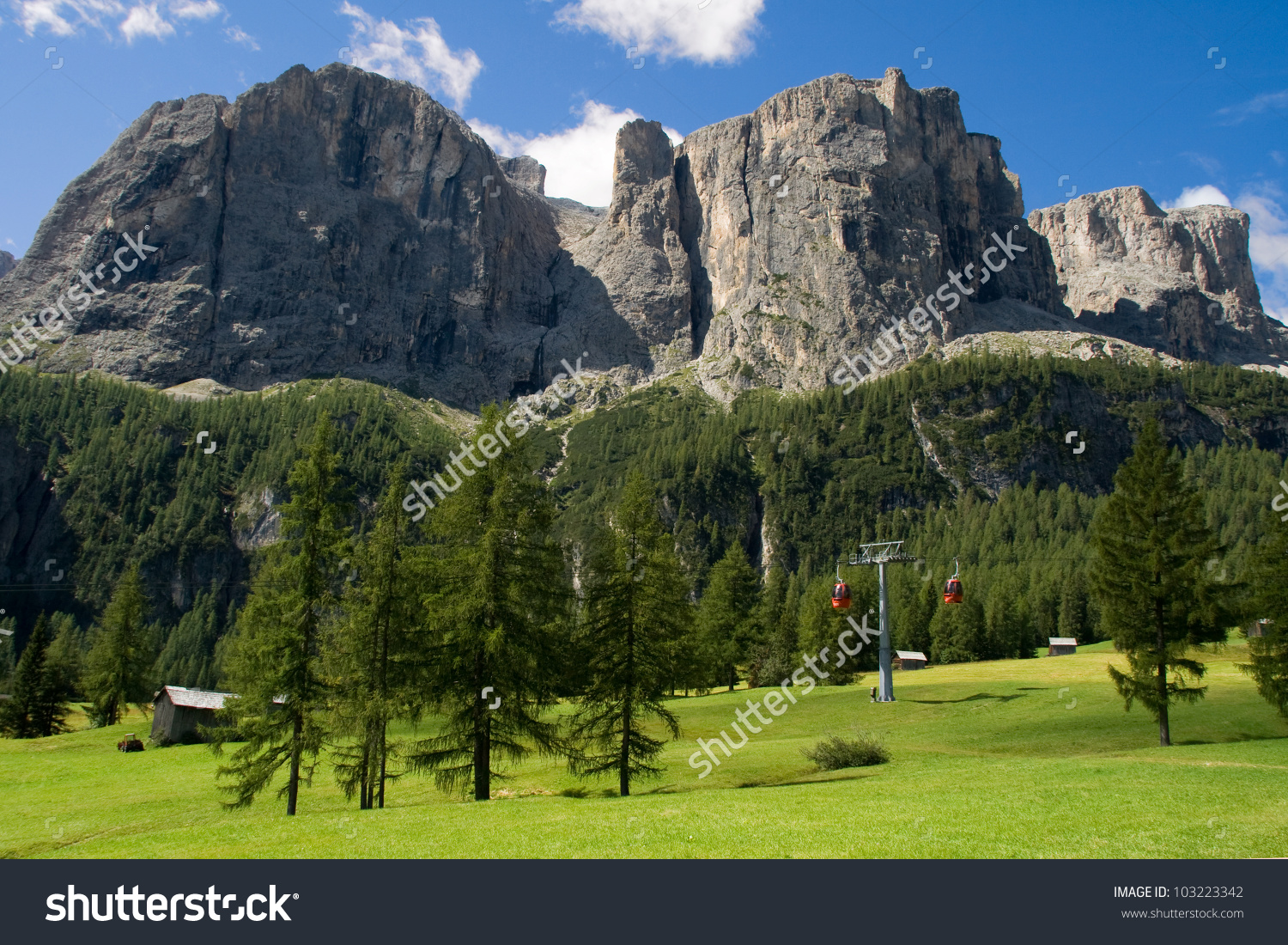 The Sella Group, A Plateau Shaped Massif In The Dolomites, Italy.