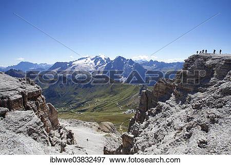 """Picture of """"View towards Marmolada Glacier, Sass Pordoi Mountain."""
