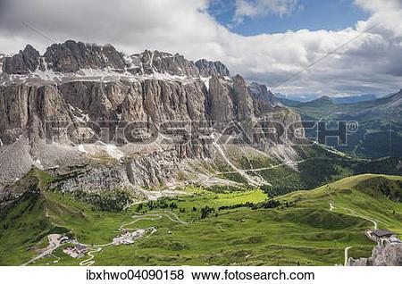 Pictures of Gardena Pass, Passo Gardena, 2121m, Sella Massif.