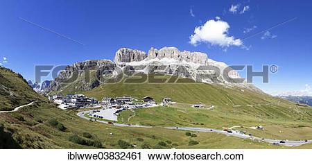 "Stock Photography of ""Summit of Pordoi Pass, Sella group."