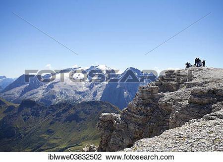 """Stock Photo of """"View towards Marmolada Glacier, Sass Pordoi."""
