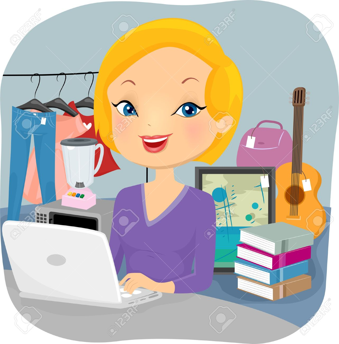 Illustration Of A Female Online Seller Conducting Business From.