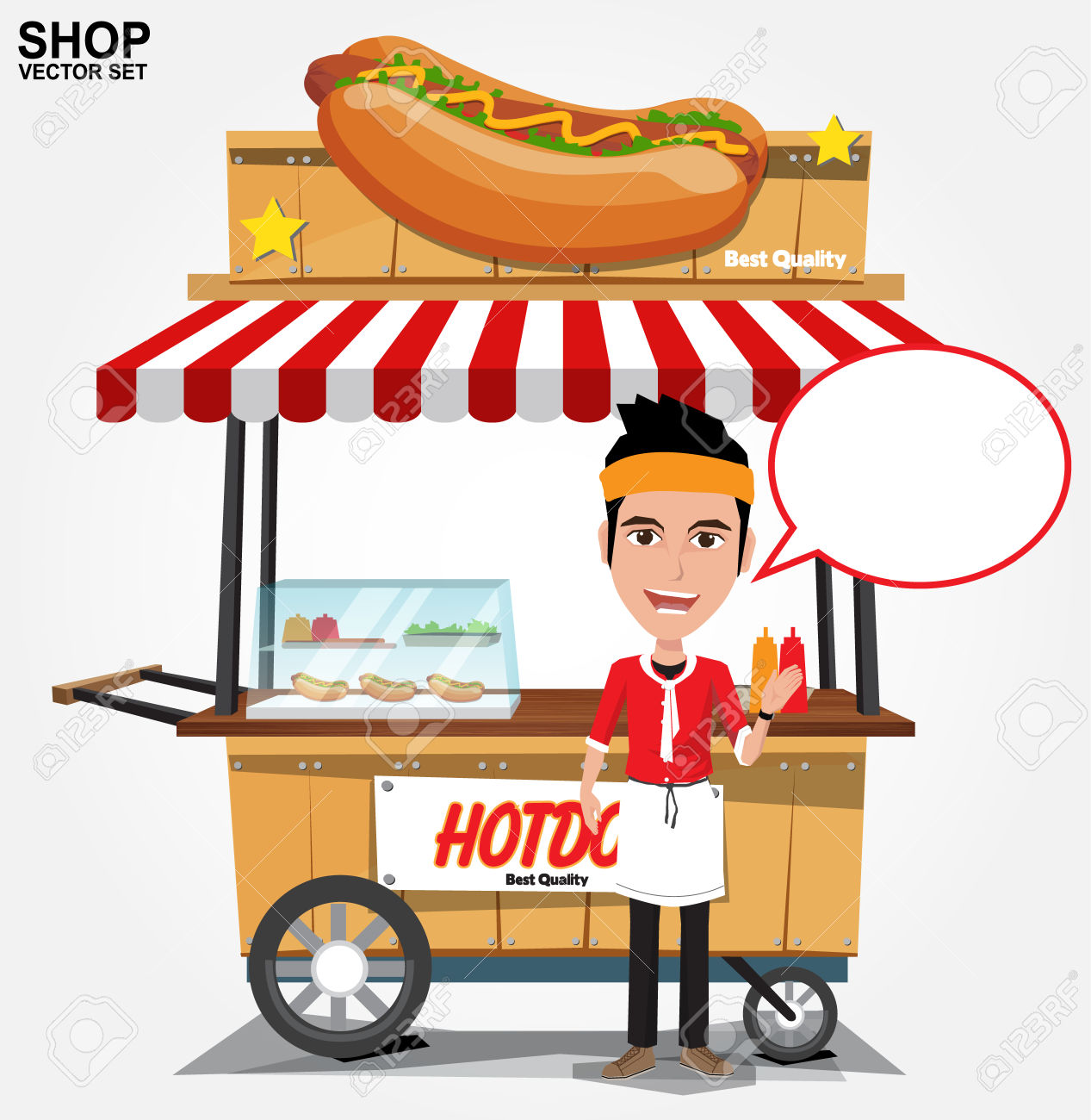 Hot Dog Street Cart With Seller.vector Royalty Free Cliparts.