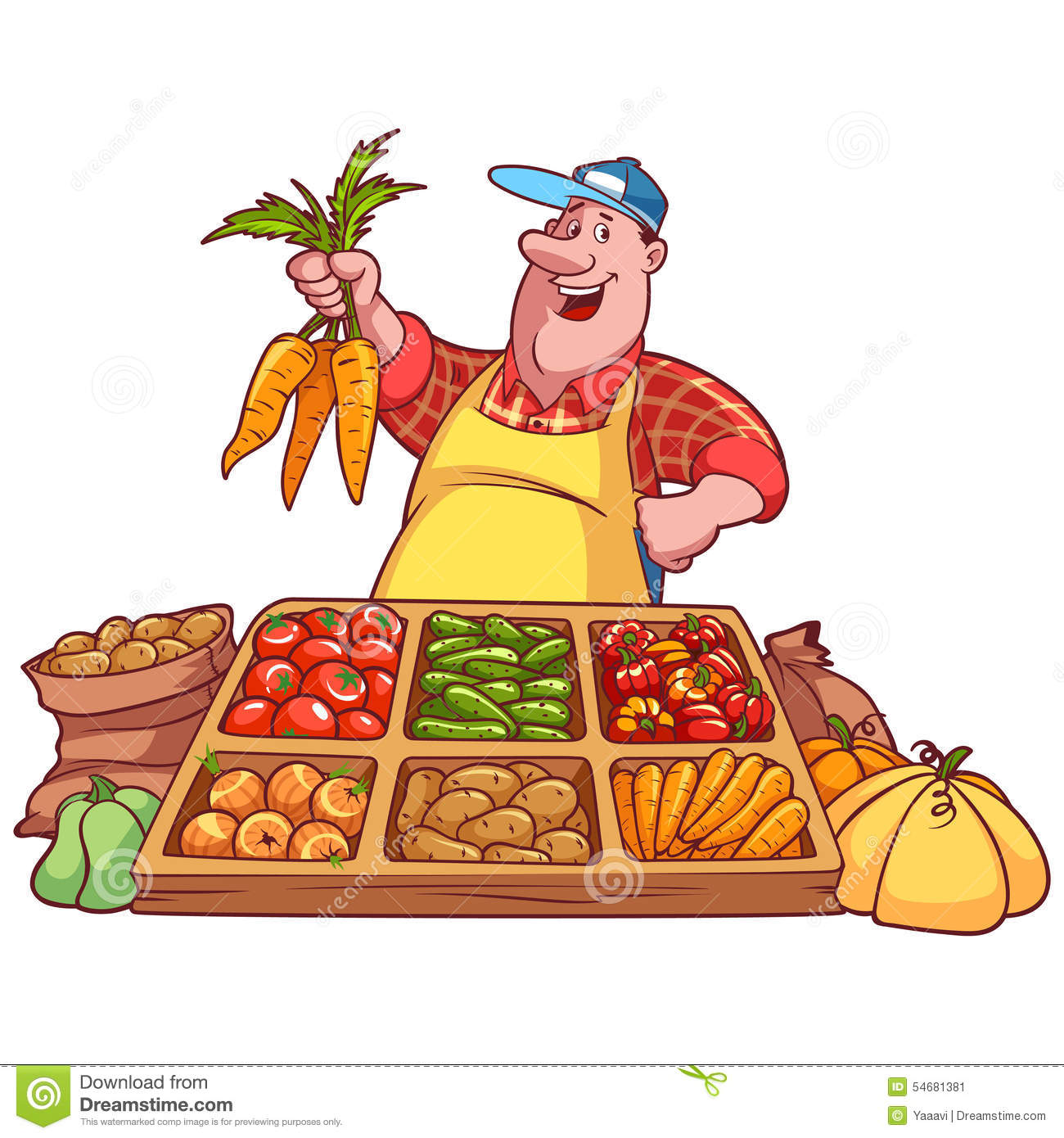 Vegetable Seller Stock Illustrations.