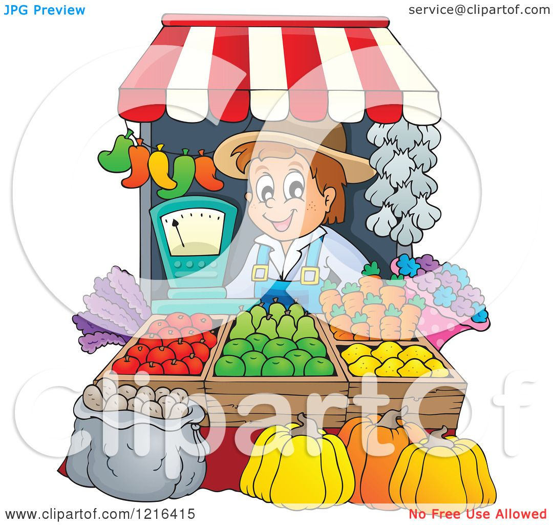 Clipart of a Happy Farmer Selling Produce at a Stand.