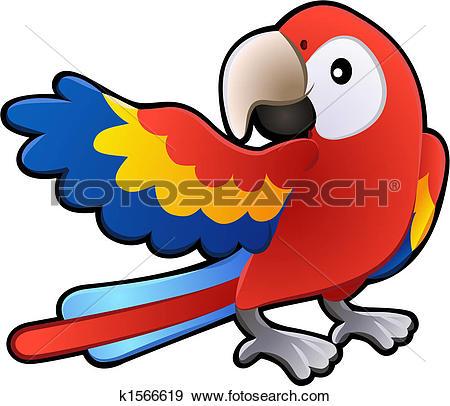 Clipart of Cute parrot bird cartoon k14204473.