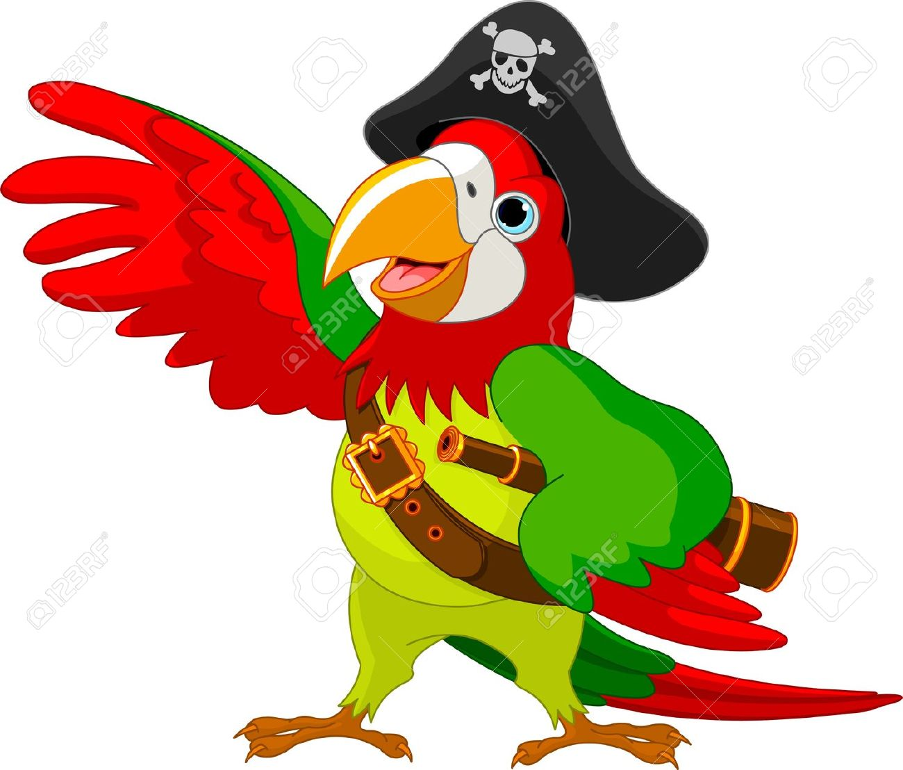 Illustration Of Talking Pirate Parrot Royalty Free Cliparts.