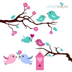 Funky Birds Vectors and Clipart.