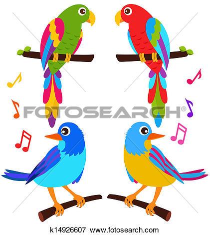 Clip Art of Parrots and Birds k14926607.
