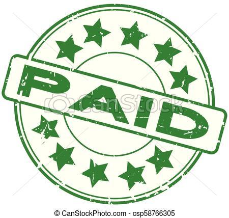 Grunge, estampilla, pagado, caucho, fondo verde, sello.
