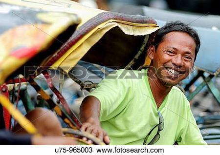Stock Photo of becak in semarang, java, indonesia u75.