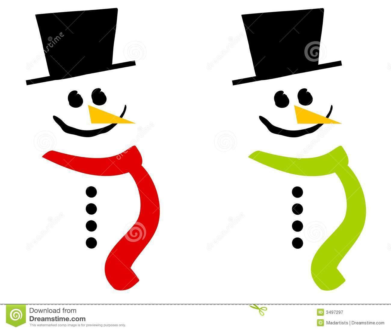 Cartoon Snowmen Clip Art Stock Image.