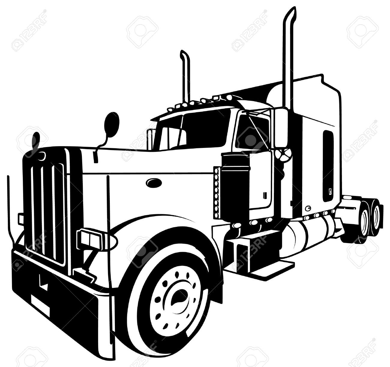 Semi truck vector Elegant Semi Truck Clipart Black And White.