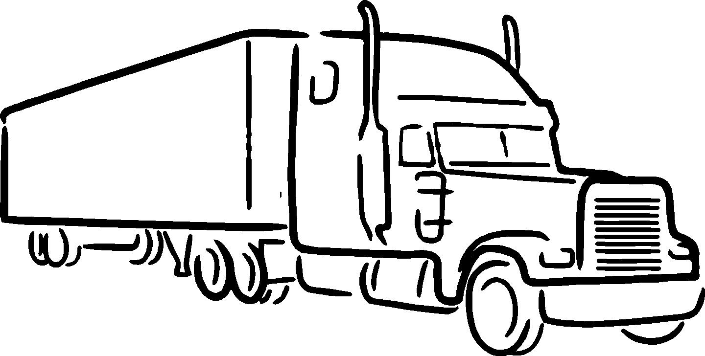Semi Truck Black And White Clipart.