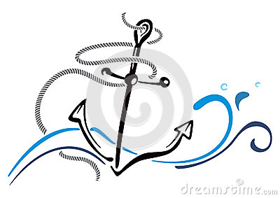 Anchor In Sea Royalty Free Stock Photography.