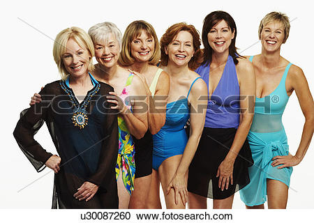 Stock Photography of Portrait of a group of mature women standing.