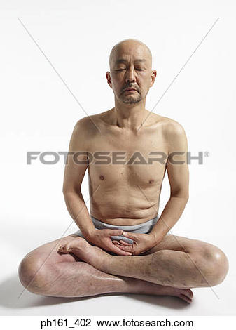 Stock Photo of Mature man sitting down in his underwear ph161_402.