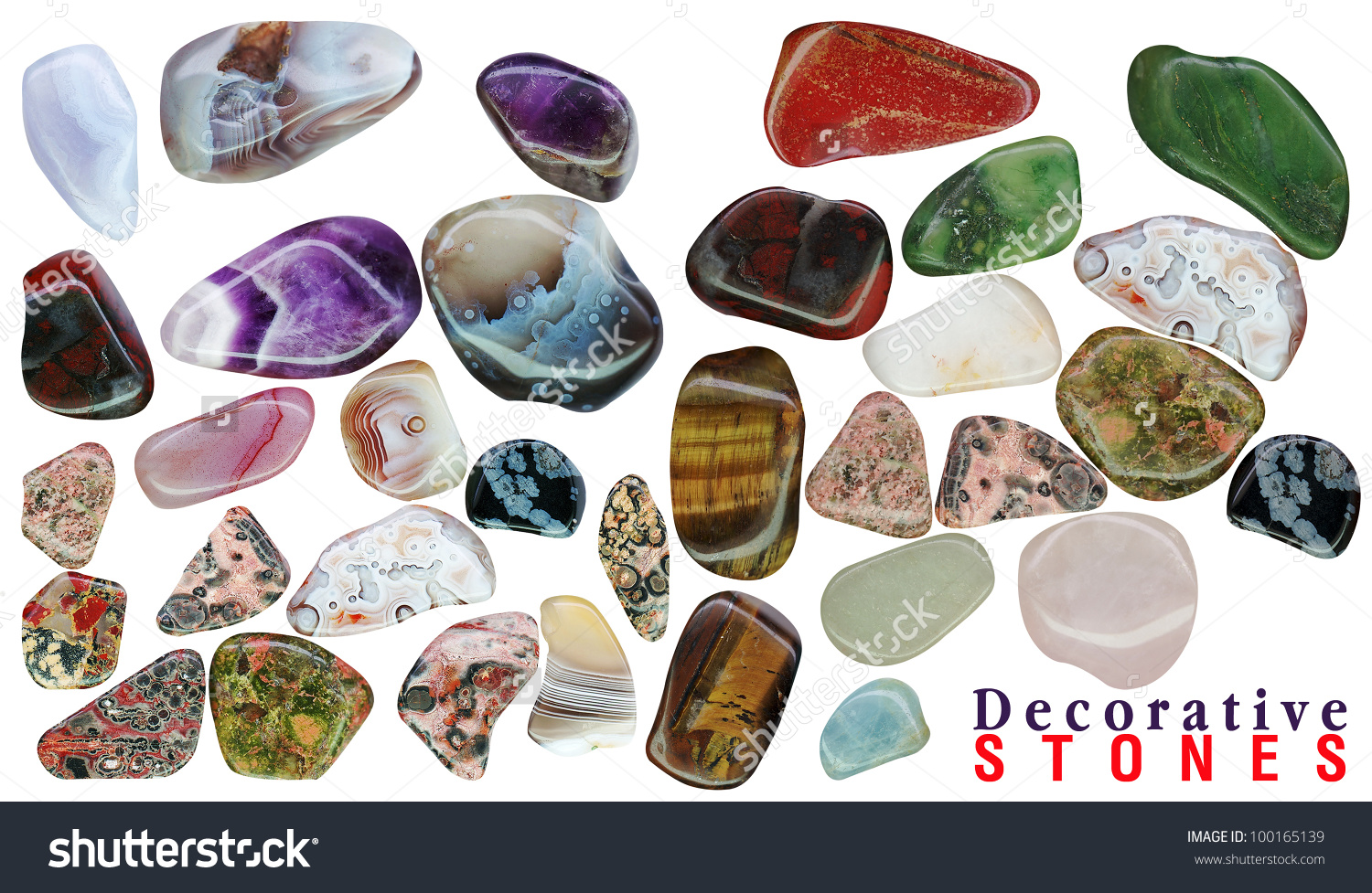 Semiprecious Stones Isolated On White Background Stock.