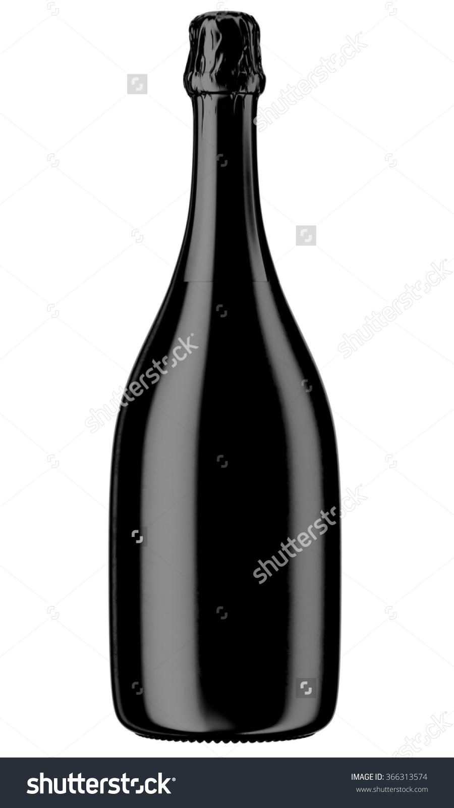 Black Champagne Sparkling Wine Bottle Isolated Stock Illustration.