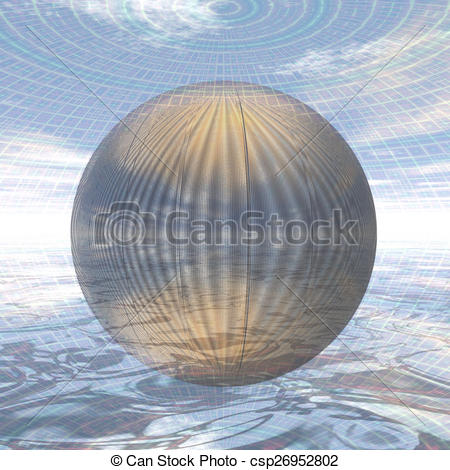 Stock Illustration of metal ball in spherical environment.