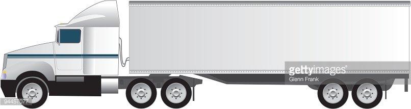 Eighteen Wheeler Tractor Trailer Semi Truck premium clipart.