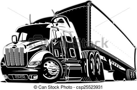 Black and white cartoon semi truck clipart » Clipart Station.