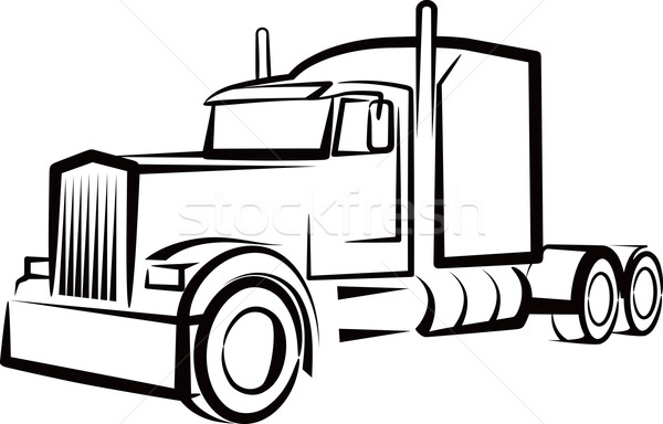 Semi Truck Clipart Black And White.