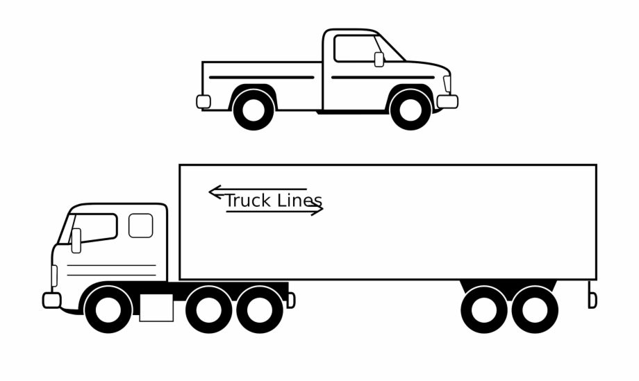 Truck Black And White Semi Truck Clipart Black And.