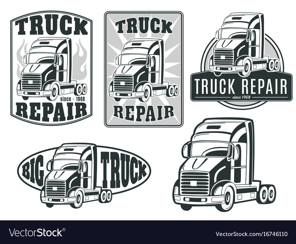 Set of logos truck repair.