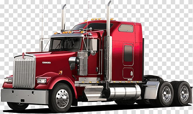 Red freight truck, American Truck Sideview transparent.