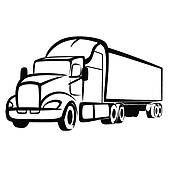 Semi Truck Silhouette Clip Art.