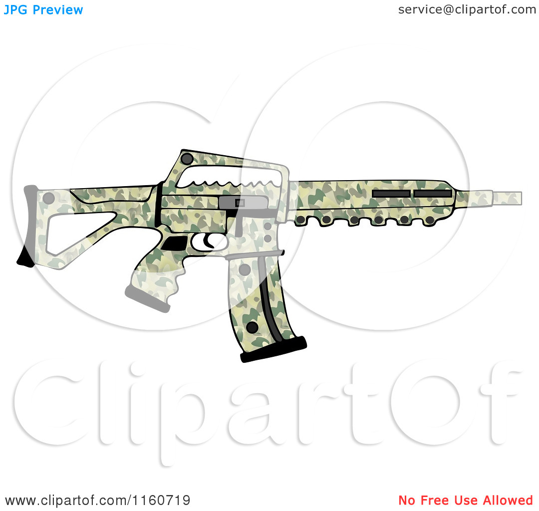 Cartoon of a Camo Semi Automatic Assault Rifle with a Clip.