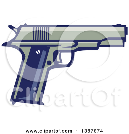 Clipart of a Retro 1911 Semi Automatic Pistol.