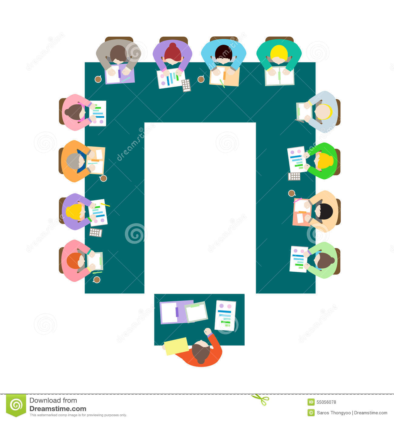 U Shape Meeting Room Setup Stock Vector.