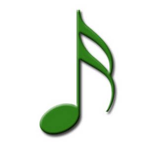 Clipart Image of a 16th Note for Written Music, Green.