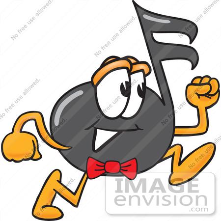 Clip Art Graphic of a Semiquaver Music Note Mascot Cartoon.