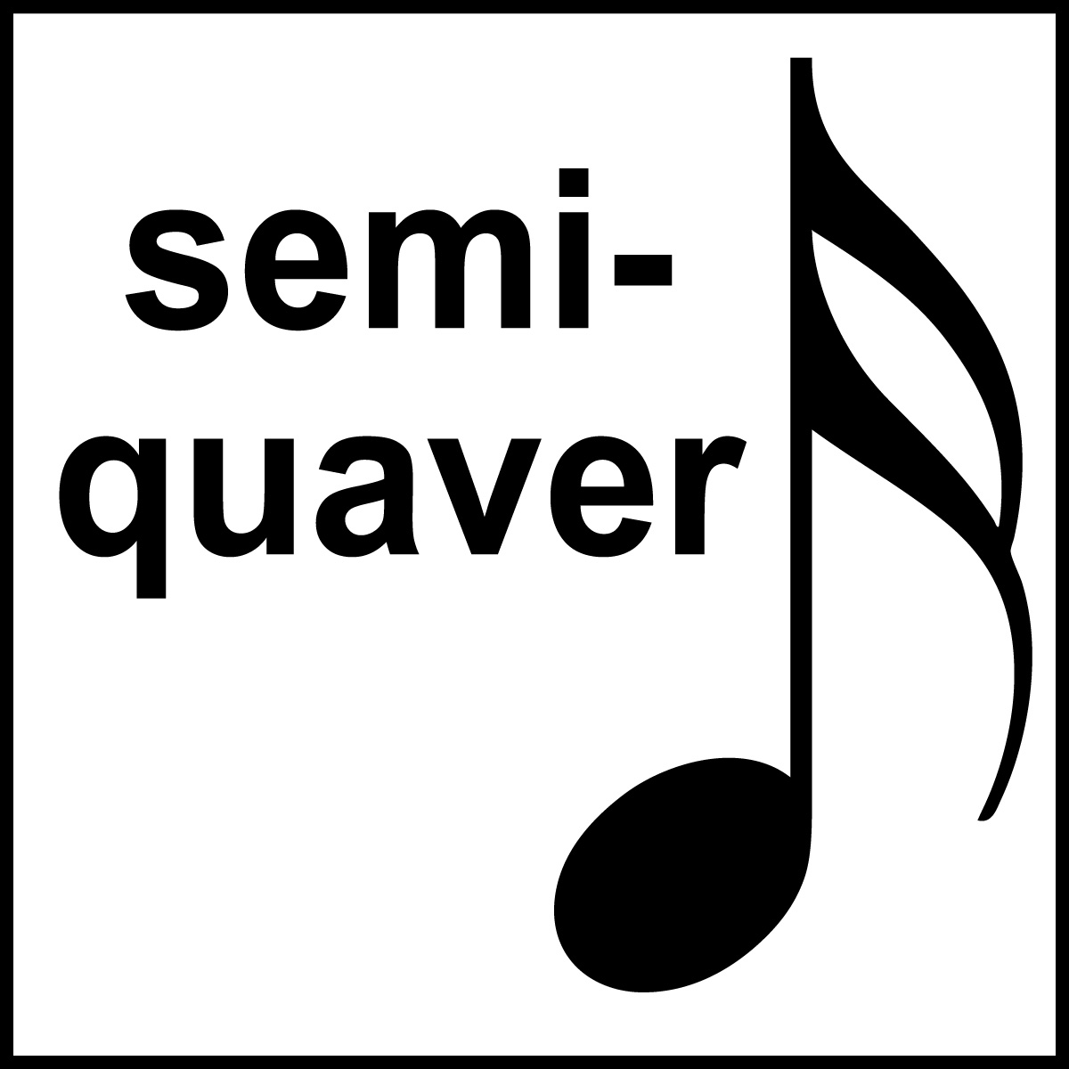 Clip Art: British Music Notation: Semiquaver B&W Labeled.