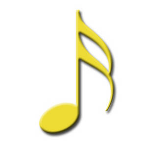 Clipart Image of a Yellow 16th Note for Written Music.