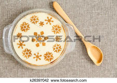 Clip Art of Gourmet Tasty Milky Semolina Dessert on Bowl k26397042.