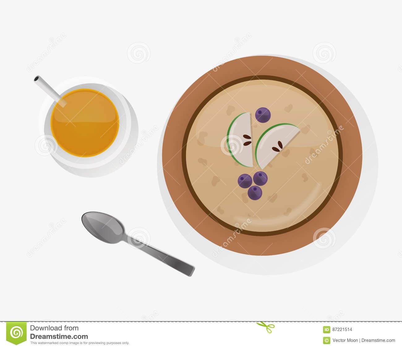 Semolina Porridge Breakfast Top View Vector Illustration. Stock.