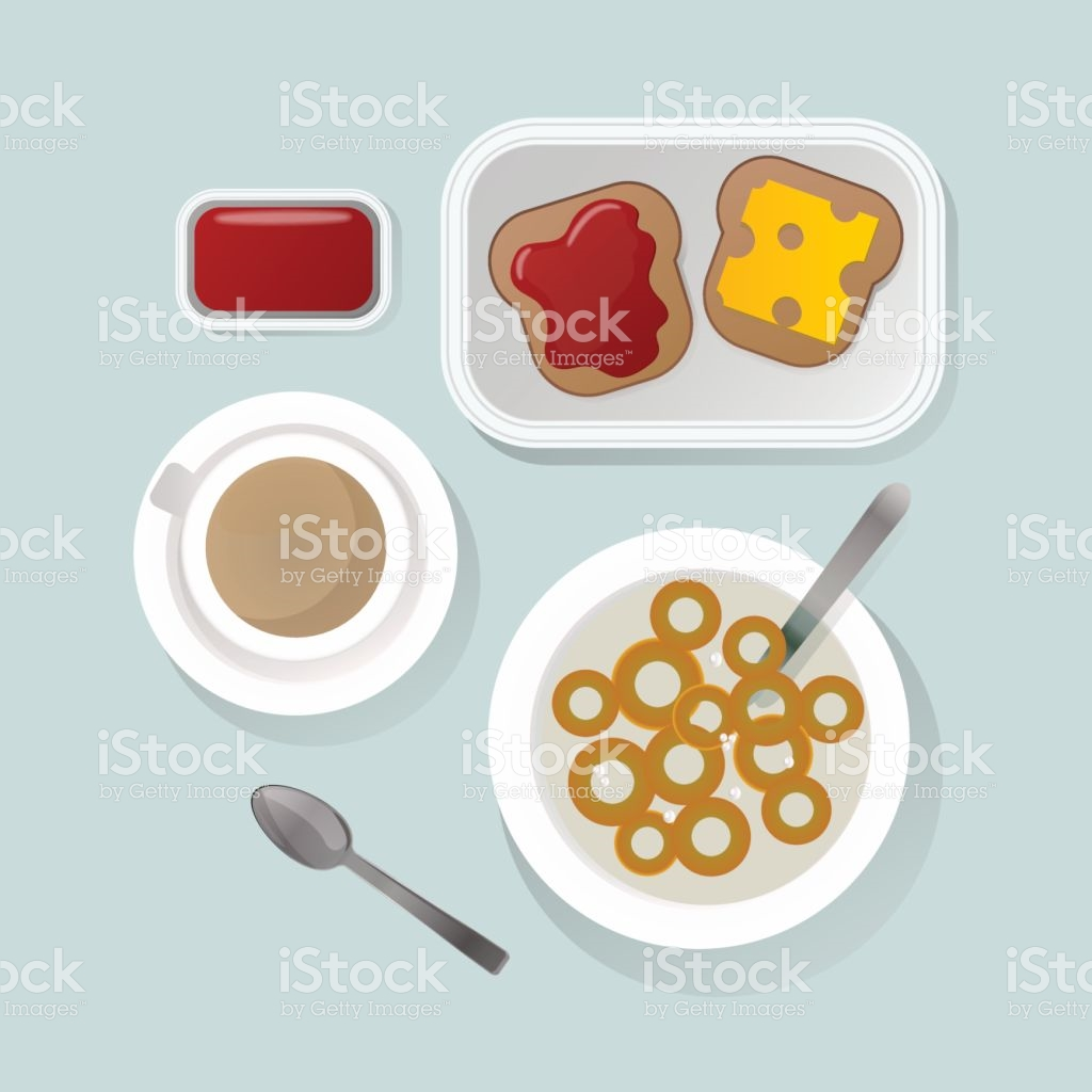 Semolina Porridge Breakfast Top View Vector Illustration stock.