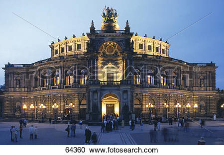 Stock Photography of Tourists at entrance of opera house, Dresden.