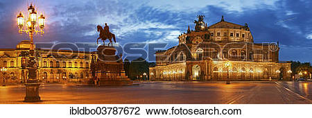 "Stock Photo of ""Illuminated Semper Opera House and Theaterplatz."