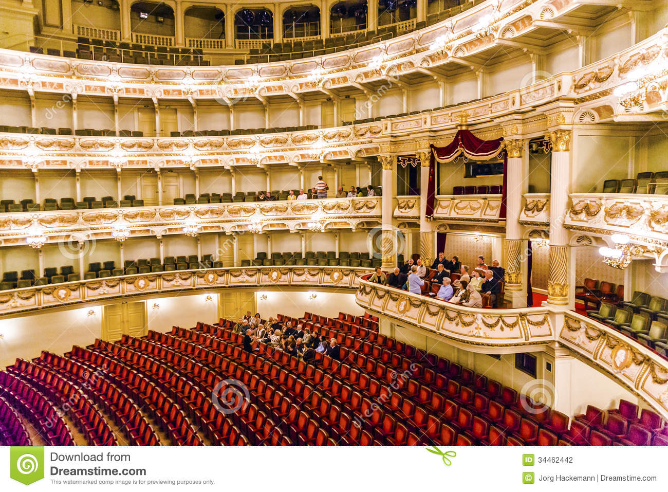 Auditorium Of The Famous Semper Opera In Dresden Editorial.