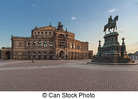 Stock Photography of Semper Opera House and Monument to King John.