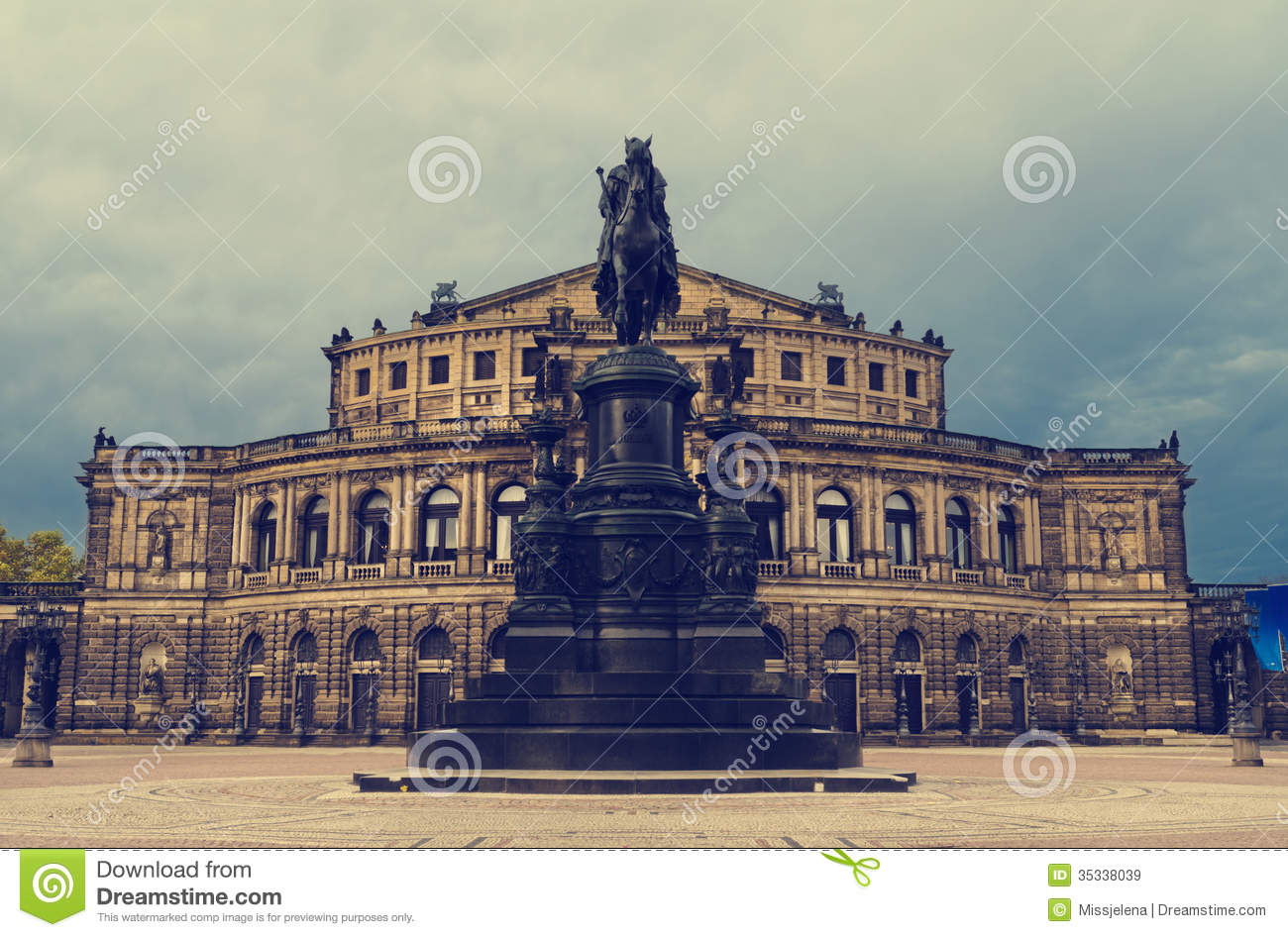 Panorama Of Dresden, Semper Opera House, Royalty Free Stock Photos.