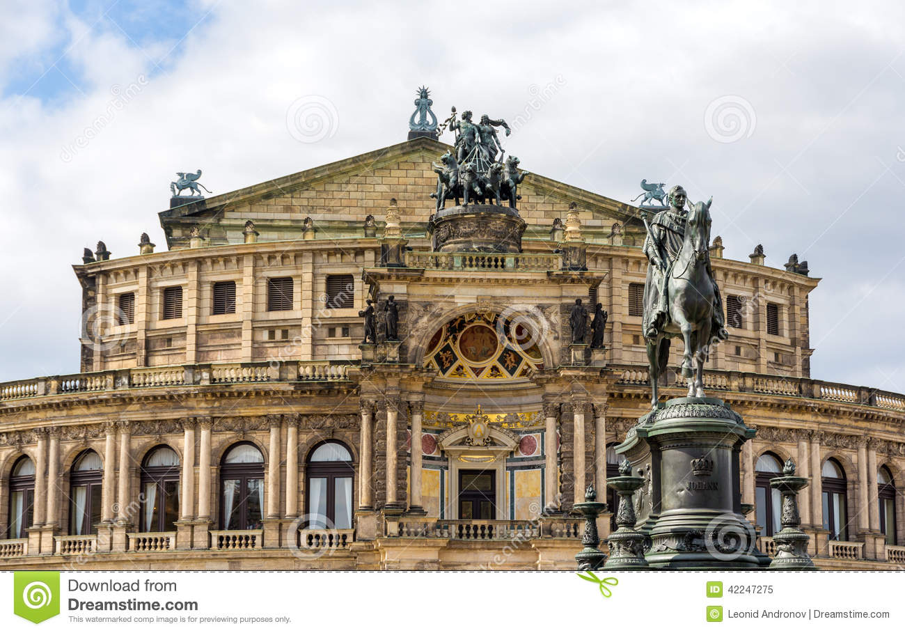 King Johann I Mounument And Semperoper In Dresden Stock Photo.