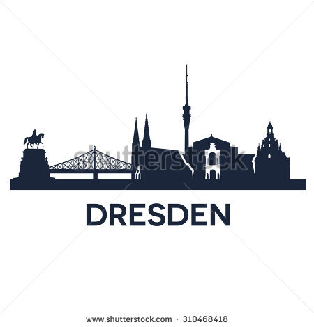 Abstract Skyline Of City Dresden, Vector Illustration.