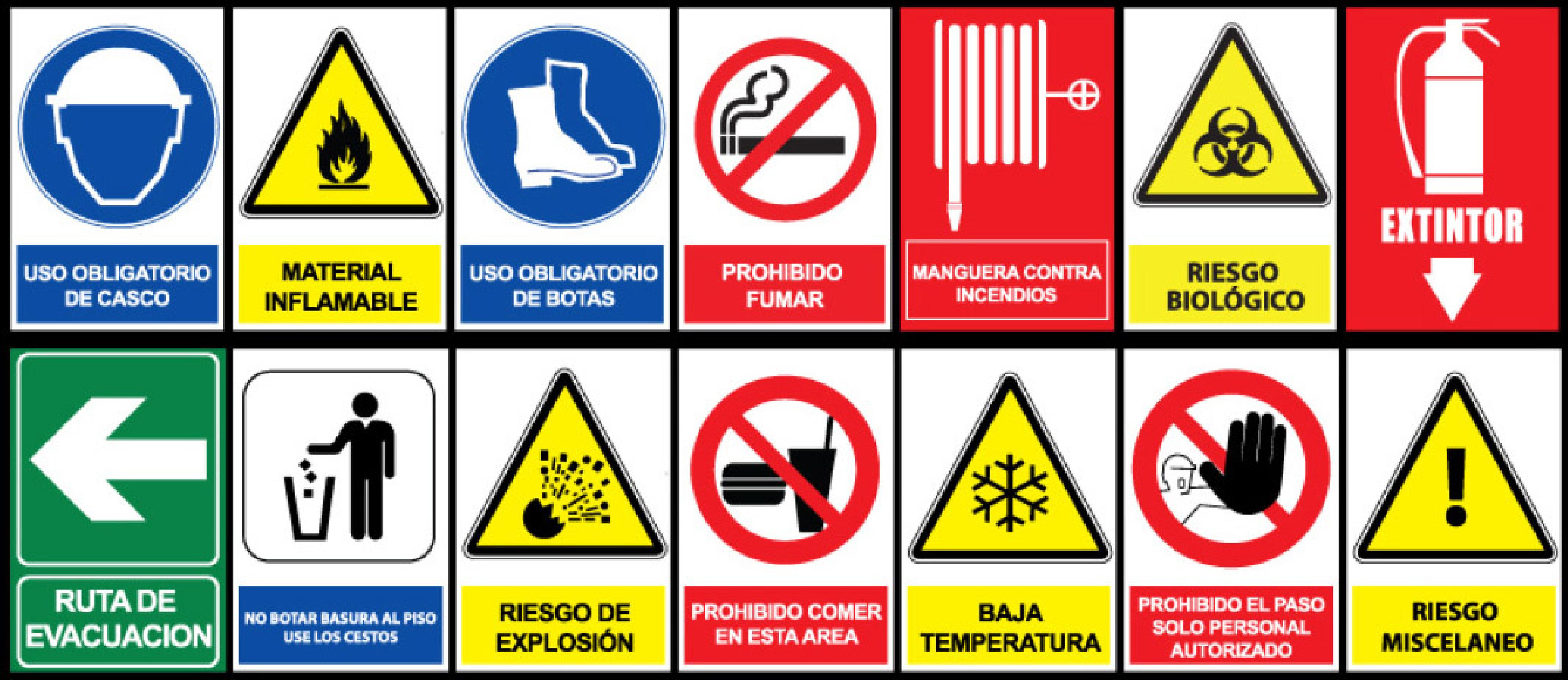 placas y señales de seguridad.