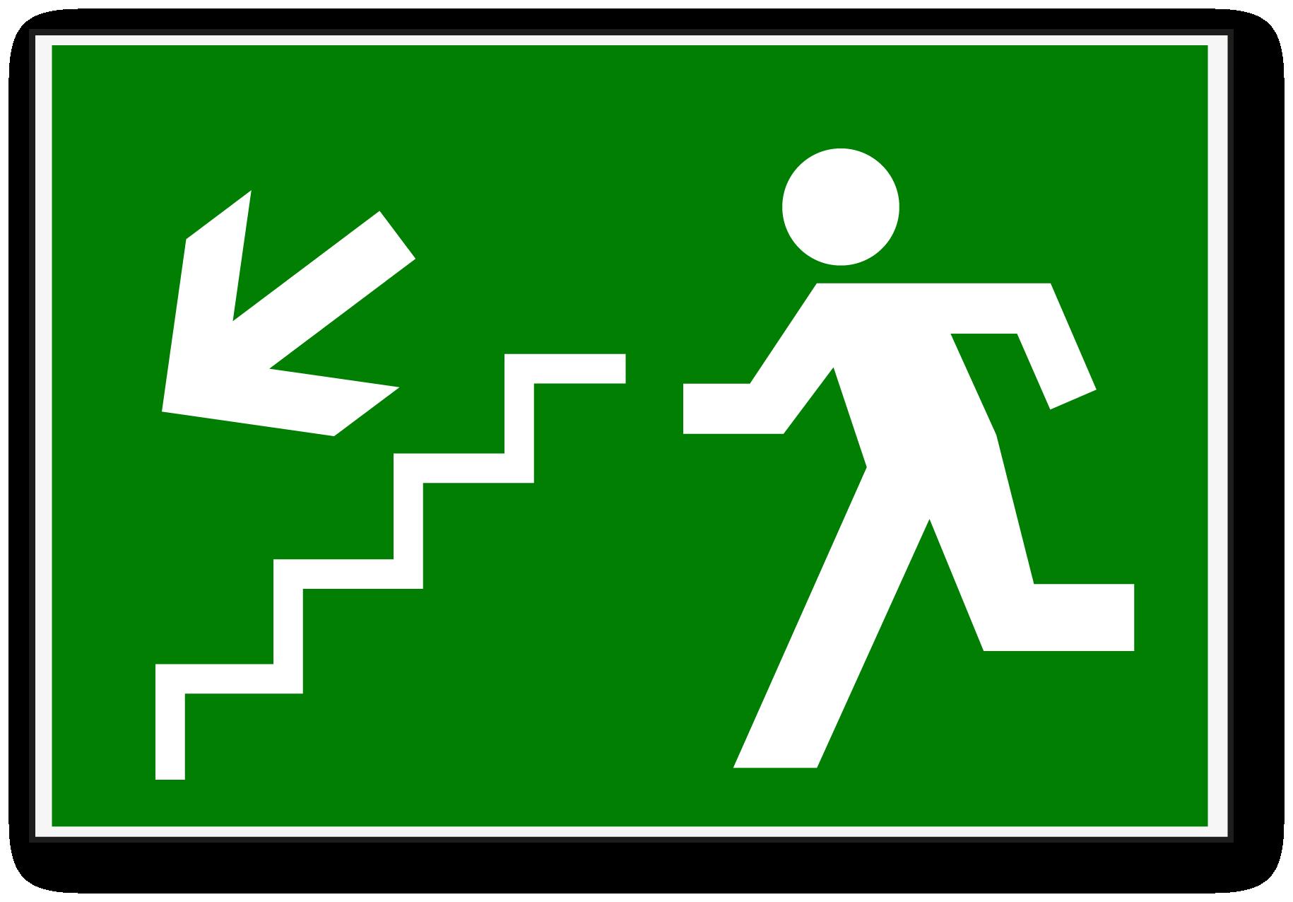 Señal de escalera de emergencia.